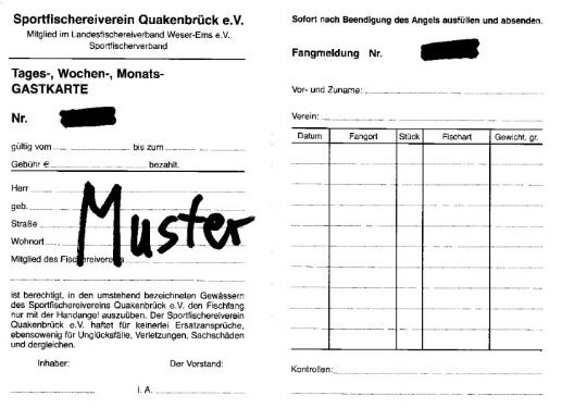 Gastkarte Angelverein Quakenbrück